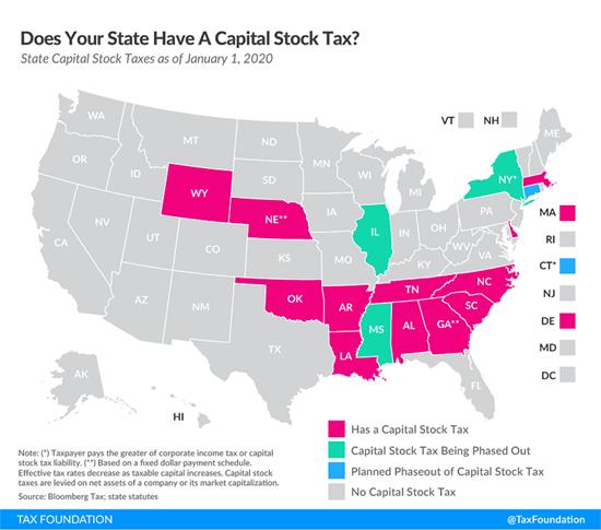 Tax Foundation map of capital stock taxes