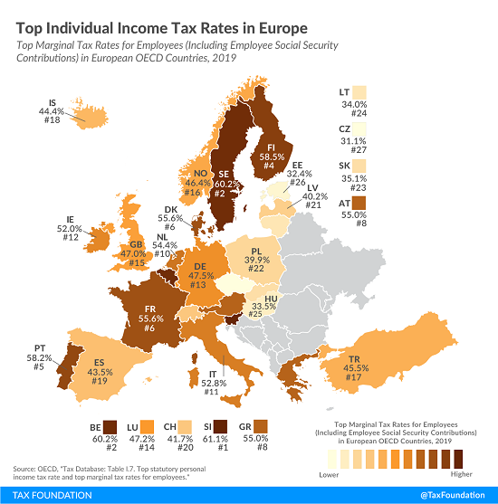 Tax Foundation map of top individual rates in europe