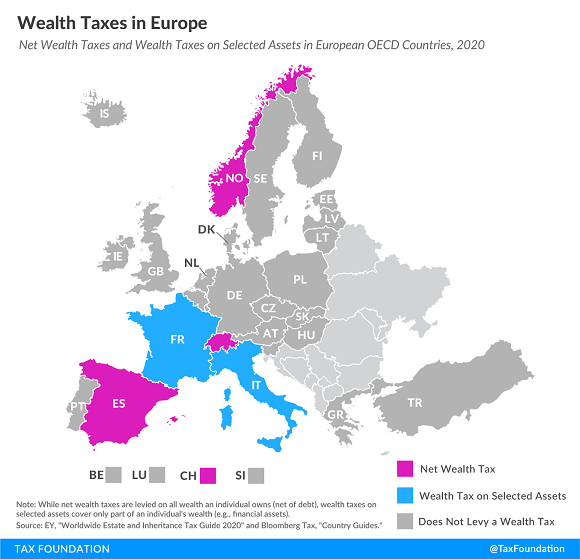 Tax Foundation map of wealth taxes in Europe
