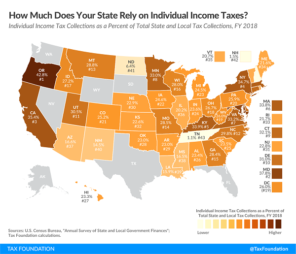 Tax Foundation 2021 map of state income tax reliance