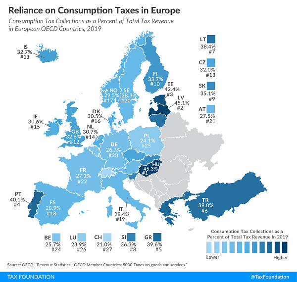 Tax Foundation 2021 map of European Consumption Tax Reliance