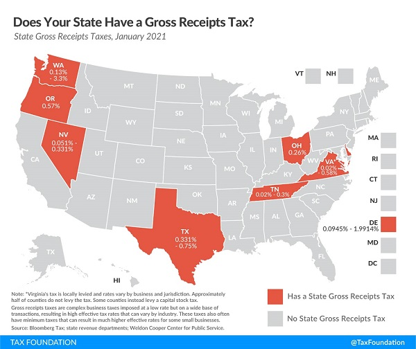 Tax Foundation map of state gross receipts taxes.