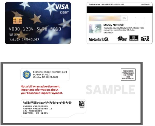 Sample stimulus debit cards and mailer