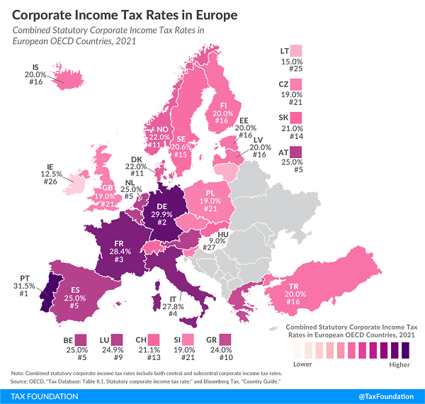 Tax Foundation April 2021 map of european corporate tax rates