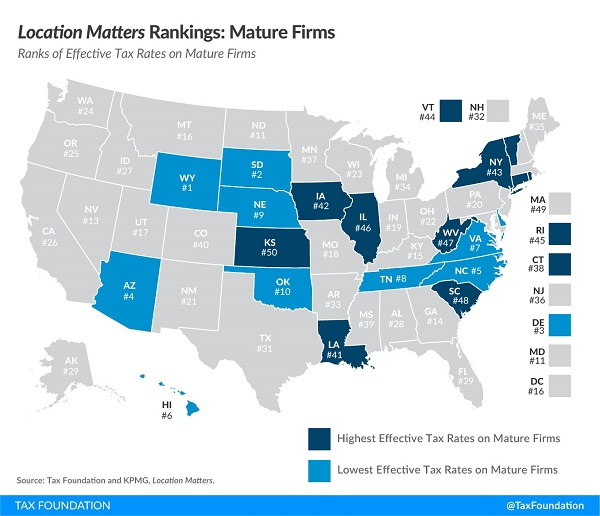 Tax Foundation Location Matters state tax environment map mature firms