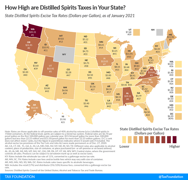 Tax Foundation 2021 map of state distilled spirits taxes
