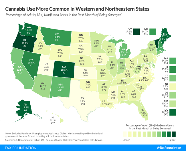 Tax Foundation map of Cannabis use by state