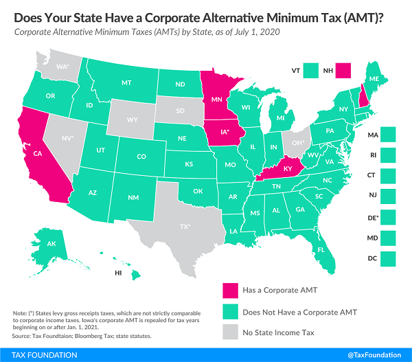 Tax Foundation map of states with corporate AMT