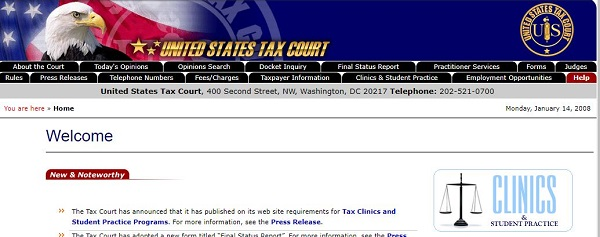 Tax Court home page 20080114