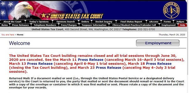 Tax Court home page 20200326