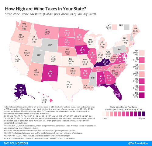 Tax Foundation June 2020 map US wine taxes